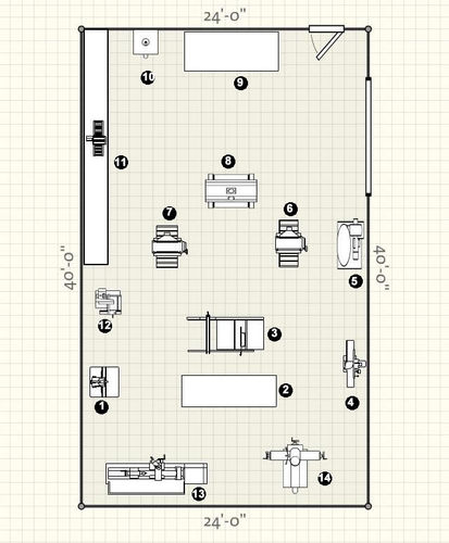 10' x 15' woodworking workshop layout