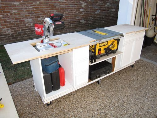 Recycling old furnitures 1 recycling a built in desk to for Table saw workbench woodworking plans
