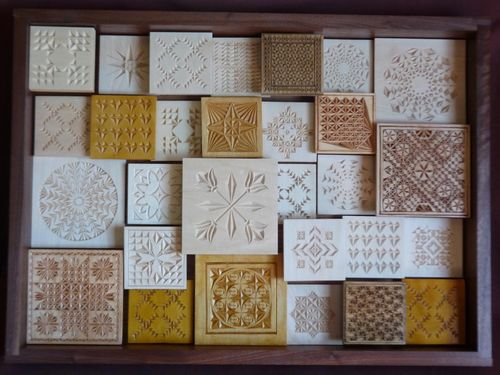 Chip carving class quilt squares project is