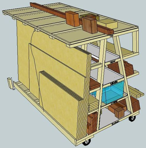 Virtual designs in sketchup 5 rolling wood storage rack for Rolling lumber cart plans