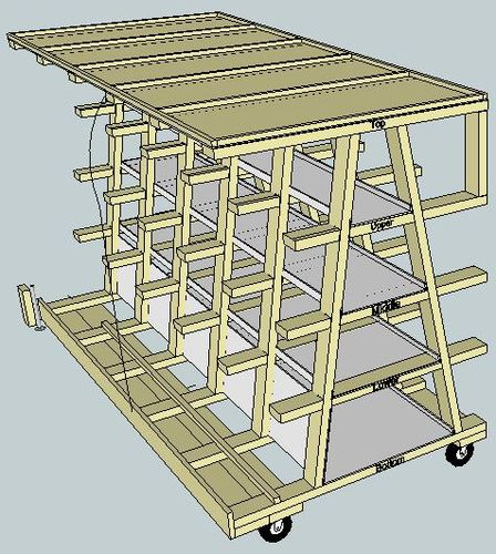 Virtual Designs In Sketchup 5 Rolling Wood Storage Rack