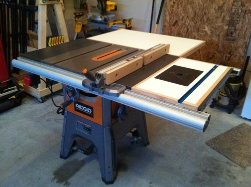 Ridgid R4512 TS -- shop built folding outfeed table ...