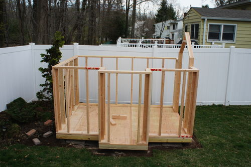 Building my kids 39 playhouse 4 framing the walls by for How to make a playhouse out of wood