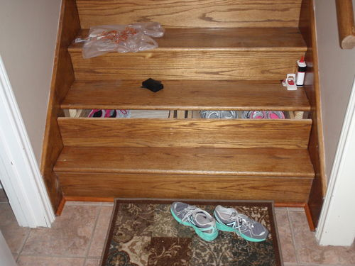 3 39 wide staircase drawer with center horse by for Diy staircase drawers