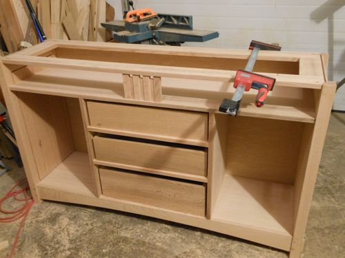 Arts and crafts entertainment center sideboard 4 for Mission style entertainment center plans