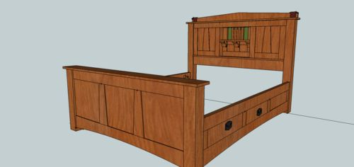 Arts and crafts wedge and strap bed 3 headboard for Arts and crafts headboard
