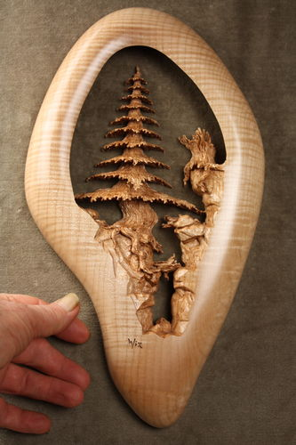 Quot deep ravine a pierced relief wood carving by gary wiz