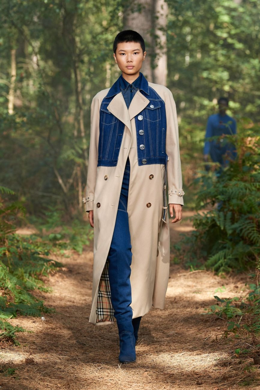 Burberry streamed its Spring 2021 fashion show live from a forest. Photos via Burberry. Streaming the runway