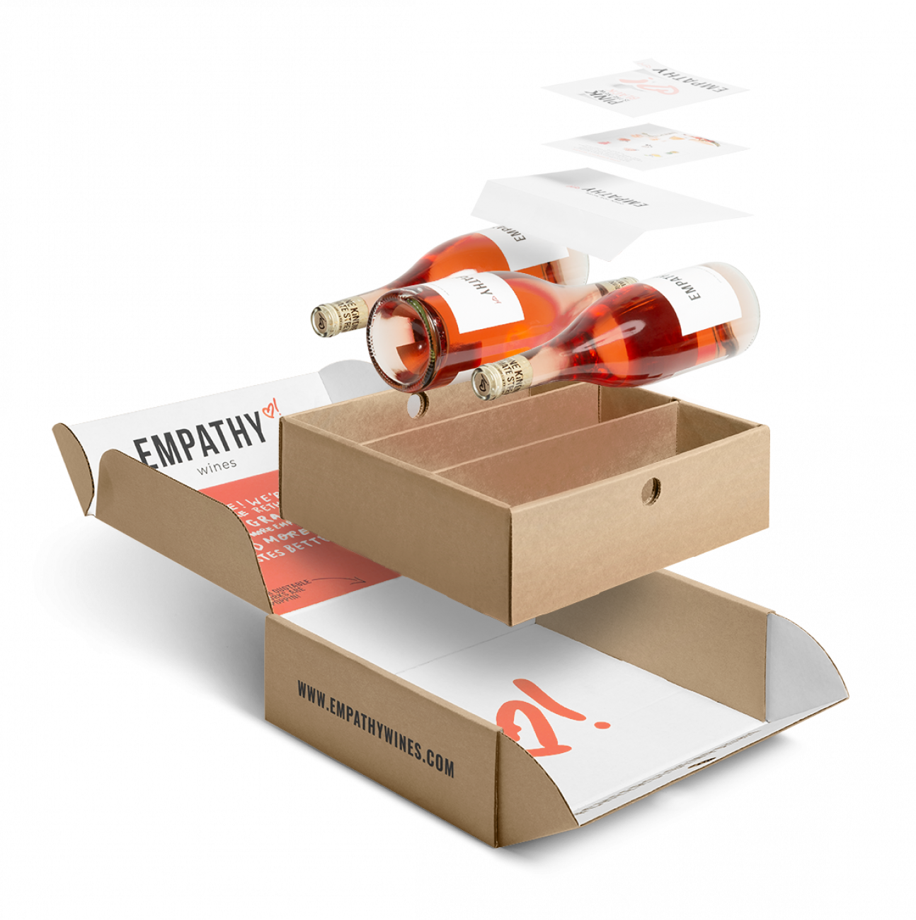 Empathy Wines Corrugated Mailer Boxes, Corrugated Inserts, Paper Envelopes, Flat Cards, Kiss Cut Sticker Sheets