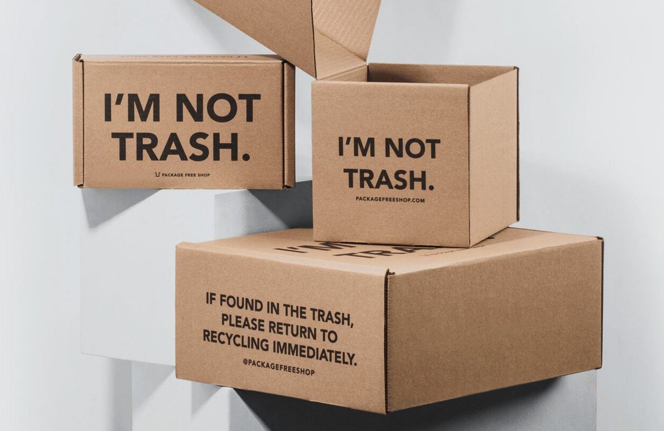 Package Free Shop uses cheeky copy that goes beyond the standard recycling symbols.  11 Strategies to Make Your Packaging More Sustainable