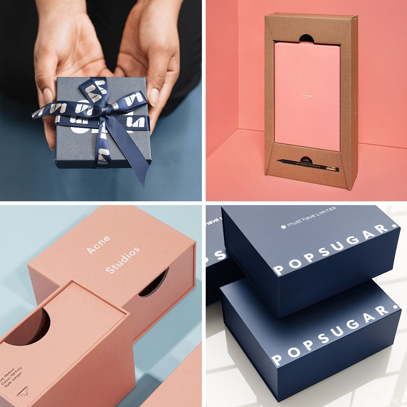 Photos via: Mary Rabun, Lumi, Acne Studios, Popsugar 90 Ideas to Spruce Up Your Holiday Packaging Design