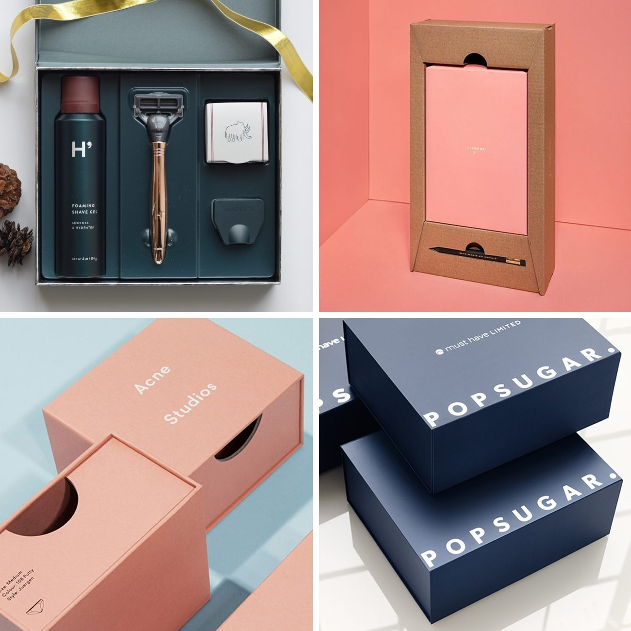 Photos via: Mary Rabun, —, —, Acne Studios, Popsugar 60 Ideas to Spruce Up Your Holiday Packaging Design