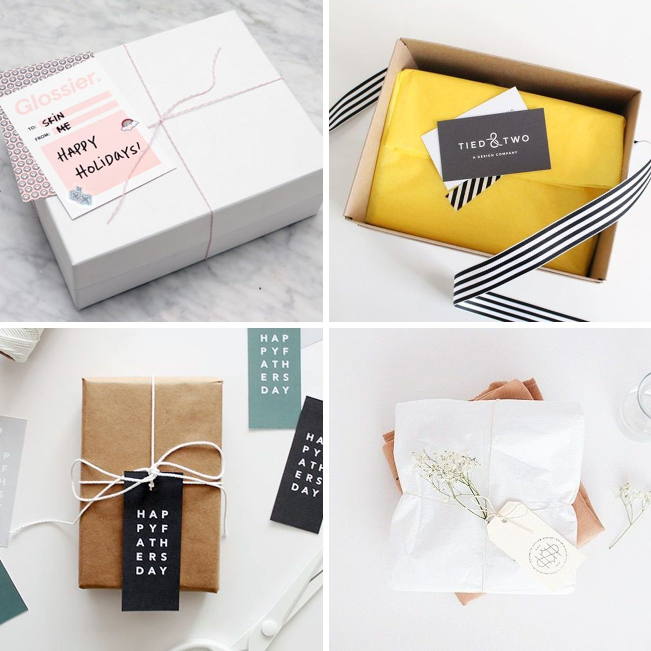 Photos via: —, Glossier, Tied & Two, Almost Makes Perfect, Oh So Pretty 60 Ideas to Spruce Up Your Holiday Packaging Design