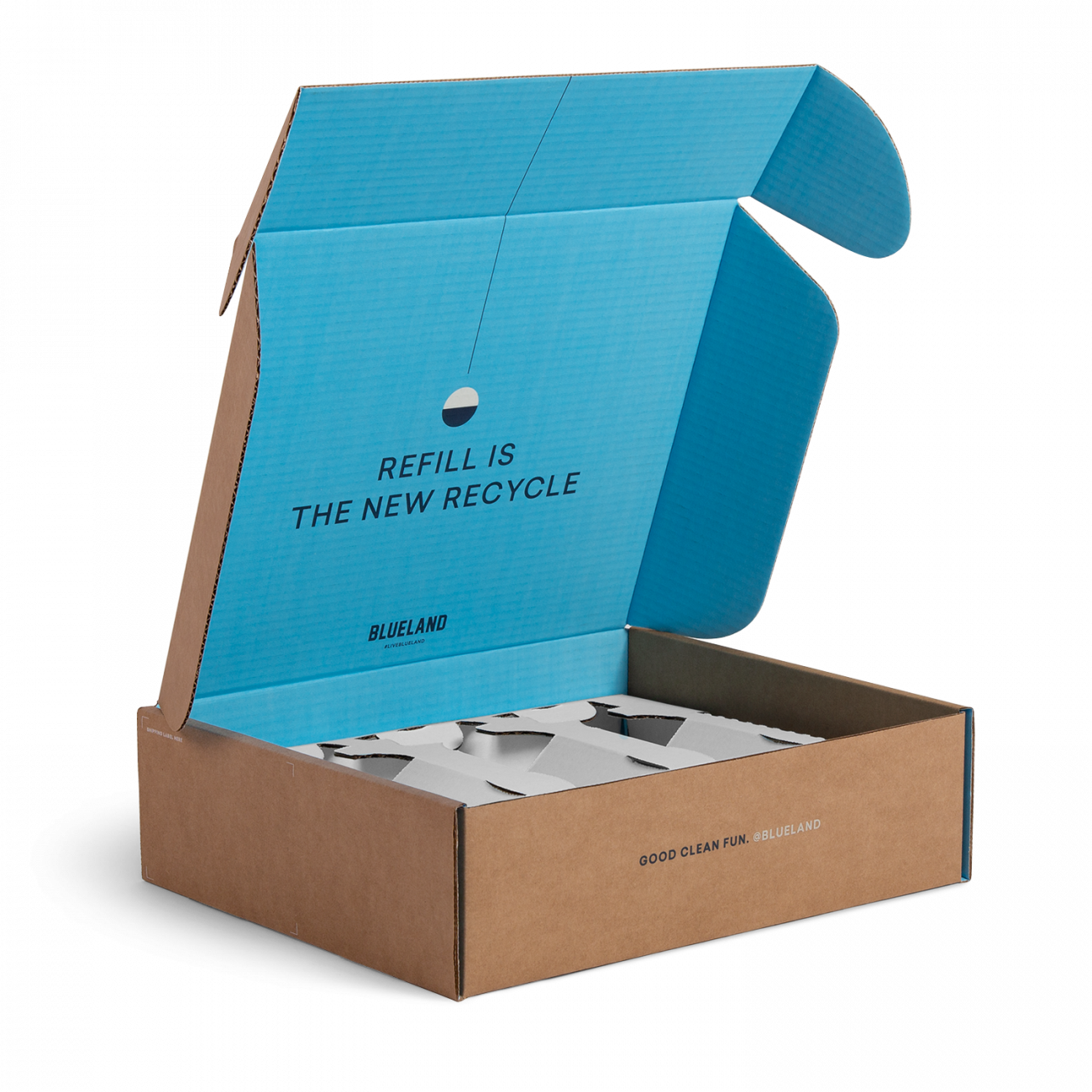 Custom roll end tuck front corrugated mailer box with roll end base, cherry locks, dust flaps, tuck front lid. Flexography on natural kraft liner, mottled white liner.