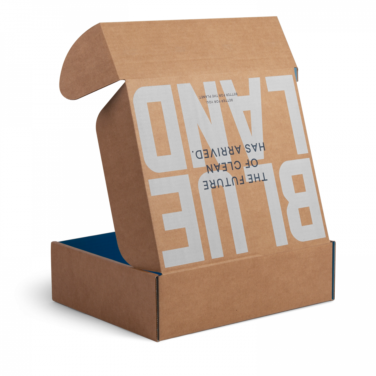 Custom roll end tuck front corrugated mailer box with roll end base, cherry locks, dust flaps, tuck front lid. Flexography on natural kraft liner.
