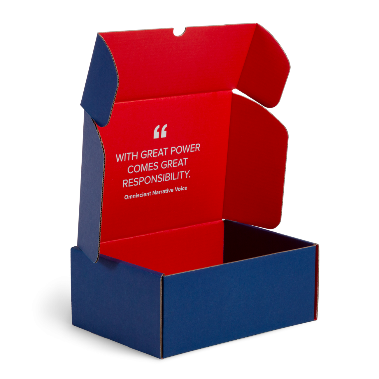 Custom roll end tuck front corrugated mailer box with roll end base, cherry locks, dust flaps, thumb notch, tuck front lid. Flexography on mottled white liner.