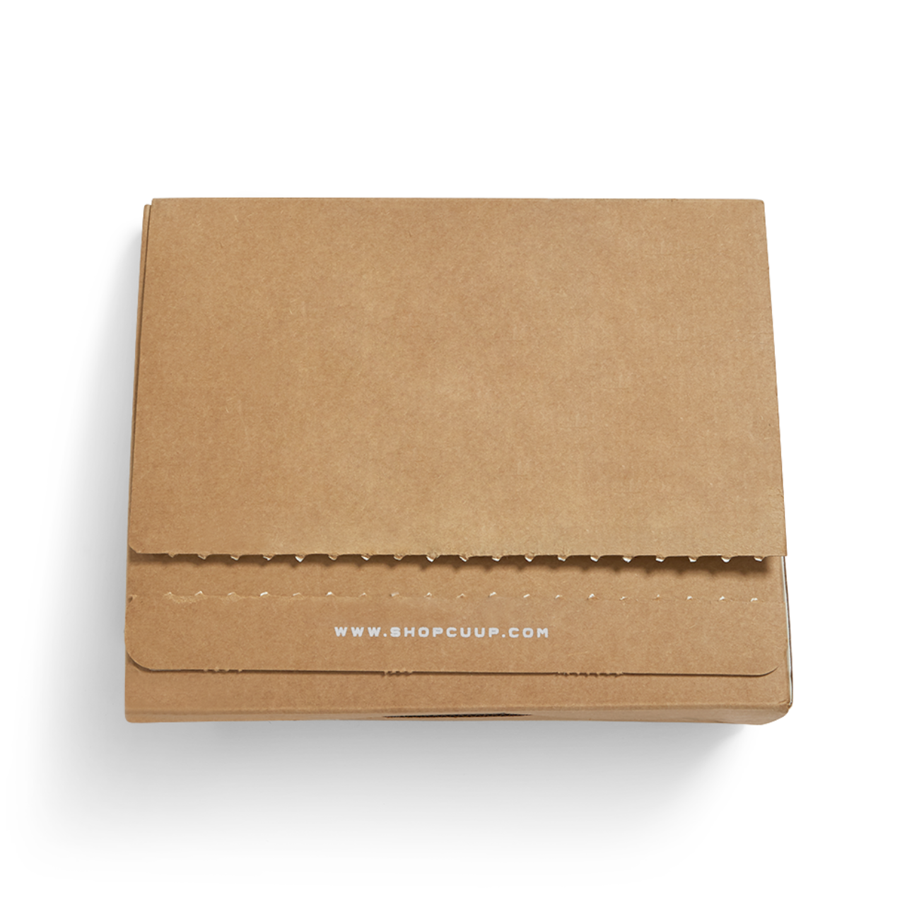 Custom corrugated mailer box with tear strip, adhesive strip. Flexography on natural kraft liner.