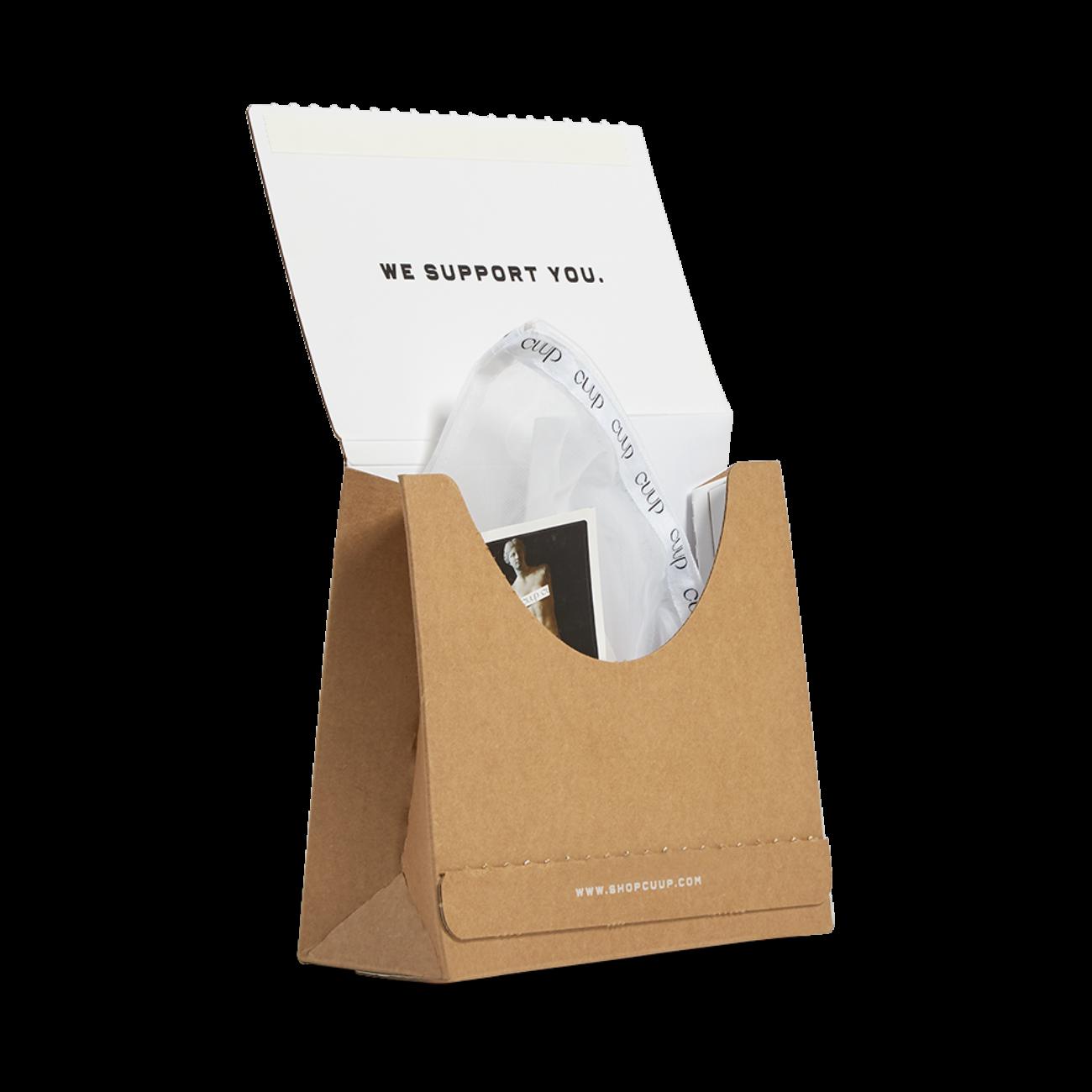 Custom corrugated mailer box with tear strip. Flexography on natural kraft liner.