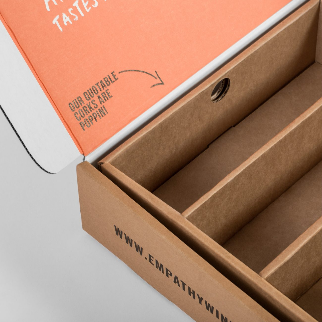 Custom roll end tuck front corrugated insert with roll end base, dust flaps. Flexography on natural kraft liner, mottled white liner.