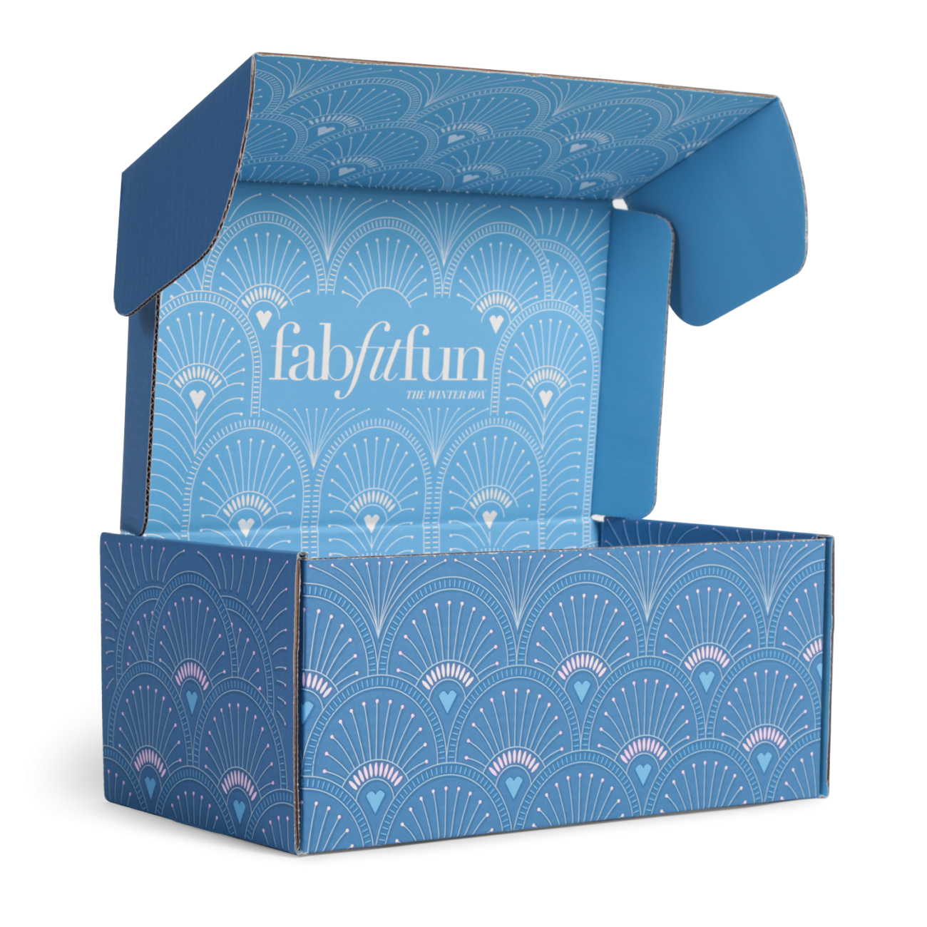 Custom roll end tuck front corrugated mailer box with roll end base, cherry locks, dust flaps, tuck front lid. Flexography on mottled white liner.