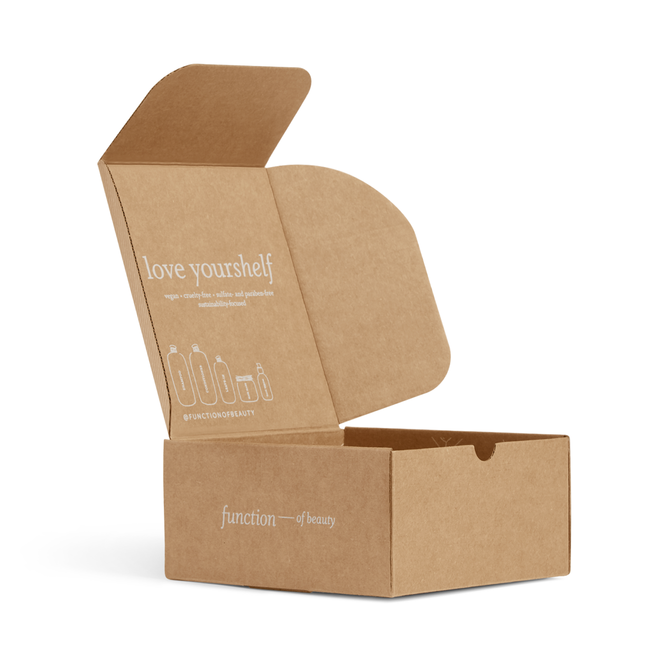 Custom roll end tuck top corrugated mailer box with thumb notch, roll end base, tuck top lid, dust flaps. Flexography on natural kraft liner.