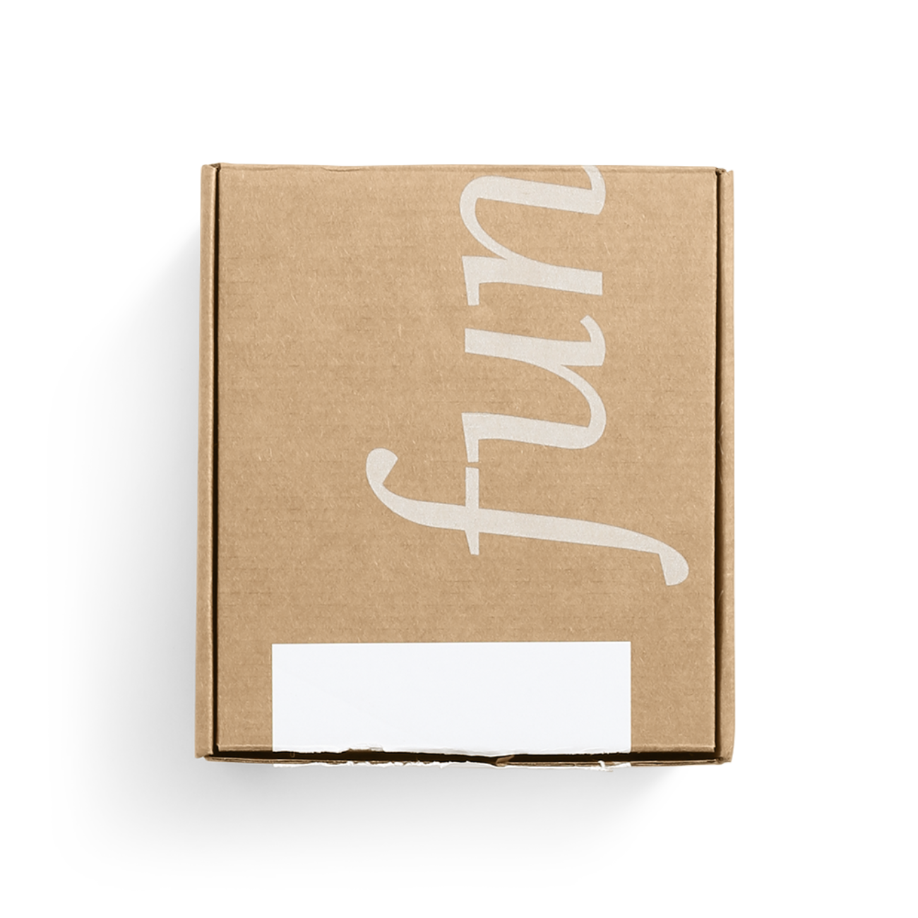 Custom roll end tuck top corrugated mailer box with roll end base, tuck top lid. Flexography on natural kraft liner.