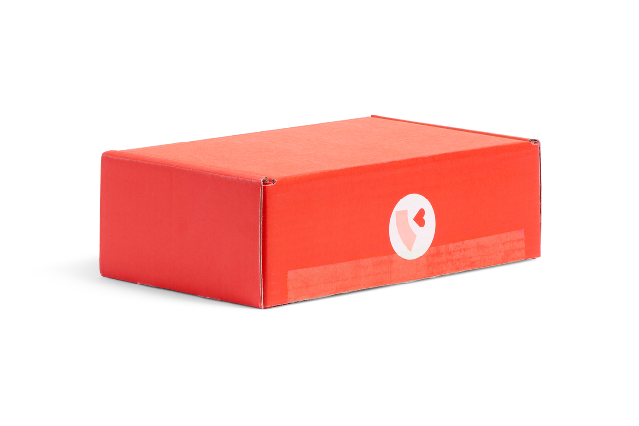 Custom roll end tuck front corrugated mailer box with roll end base, tuck front lid. Flexography on mottled white liner.