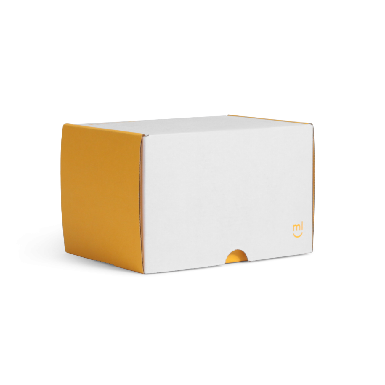 Custom roll end tuck front corrugated mailer box with thumb notch, tuck front lid. Flexography on mottled white liner.