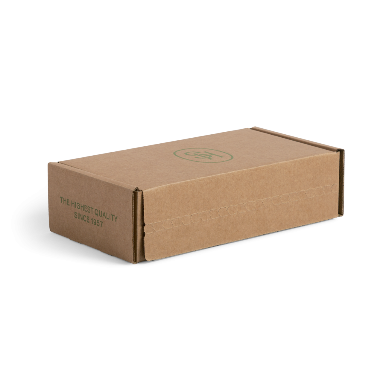 Custom roll end tuck front corrugated mailer box with roll end base, tuck front lid. Flexography on natural kraft liner.