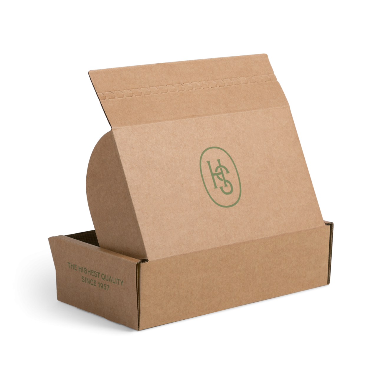 Custom roll end tuck front corrugated mailer box with roll end base, dust flaps, tear strip, adhesive strip. Flexography on natural kraft liner.