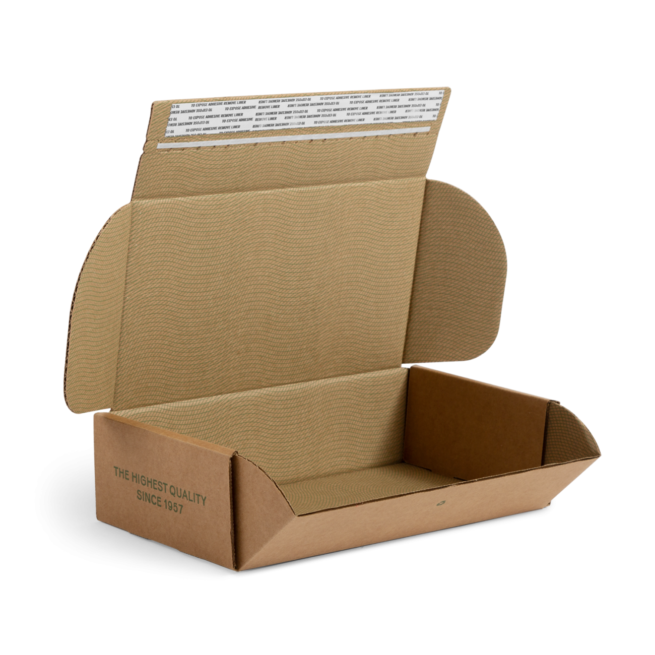 Custom roll end tuck front corrugated mailer box with roll end base, dust flaps, adhesive strip, tear strip. Flexography on natural kraft liner.
