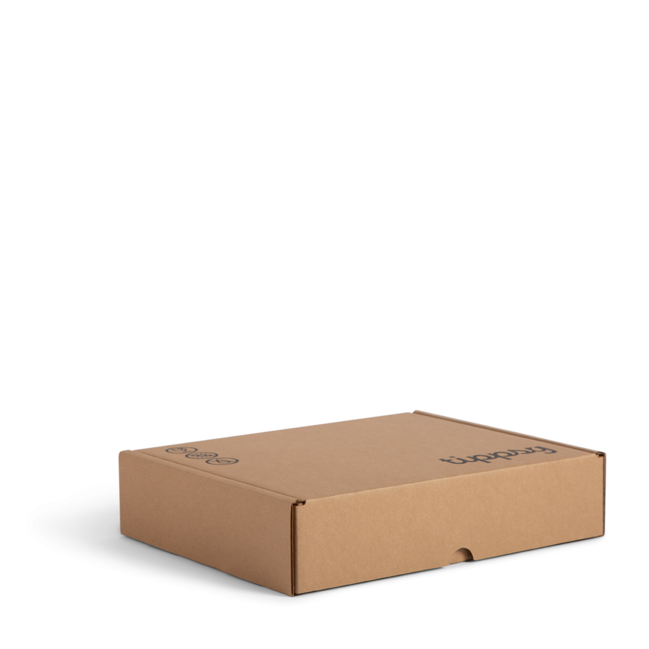 Custom roll end tuck front corrugated mailer box with thumb notch. Flexography on natural kraft liner.