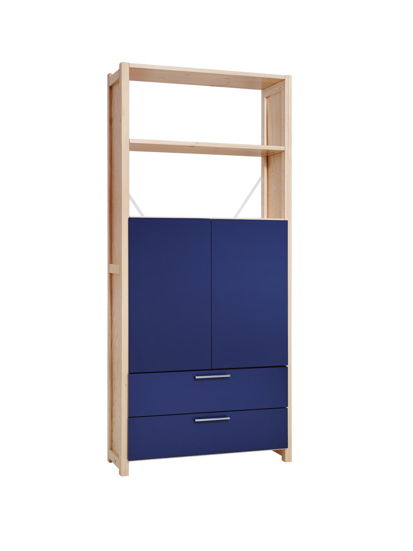Lundia Classic -hylly sinisillä ovilla ja laatikoilla