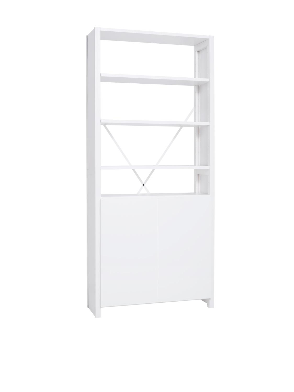 Lundia Classic -hylly valkoisilla ovilla