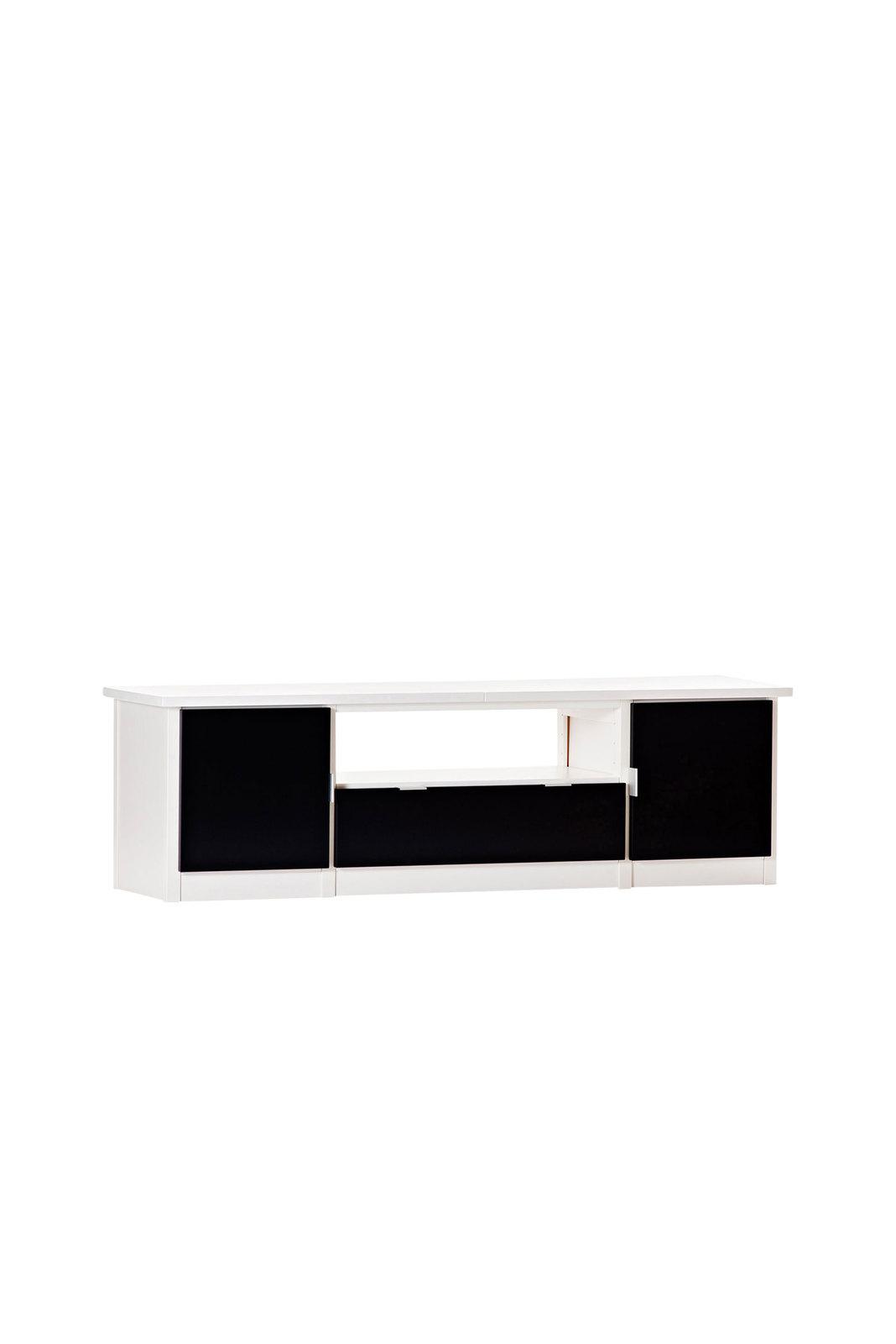 Valkolakattu tv-taso ovilla ja laatikoilla