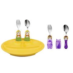 Eat4Fun Purple Princess 4Pc Set & 3Pc Fork Spoon & Plate Set