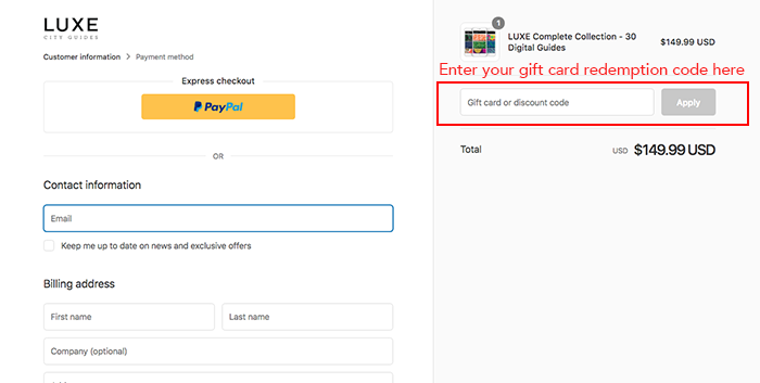 Step 3. enter gift card code