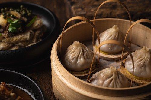 Shanghainese soup dumpling Mott 32 Plant Based