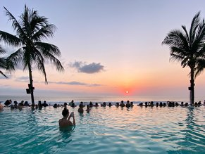 bali pool sunset