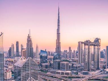 Dubai skyline dusk