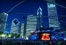Pritzker Pavilion night Millennium Park Chicago
