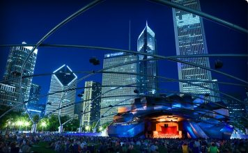 Pritzker Pavilion night Millennium Park Chicago
