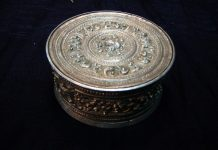 Karen Tribe Circular Silver Box with Rpousse Decoration available at The Glden Triangle
