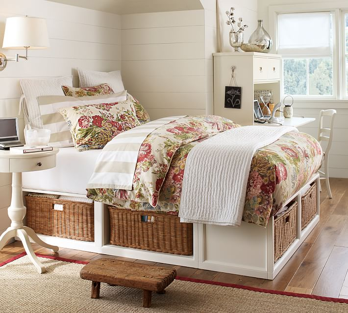 Stratton Storage Bed With Baskets   Pottery Barn