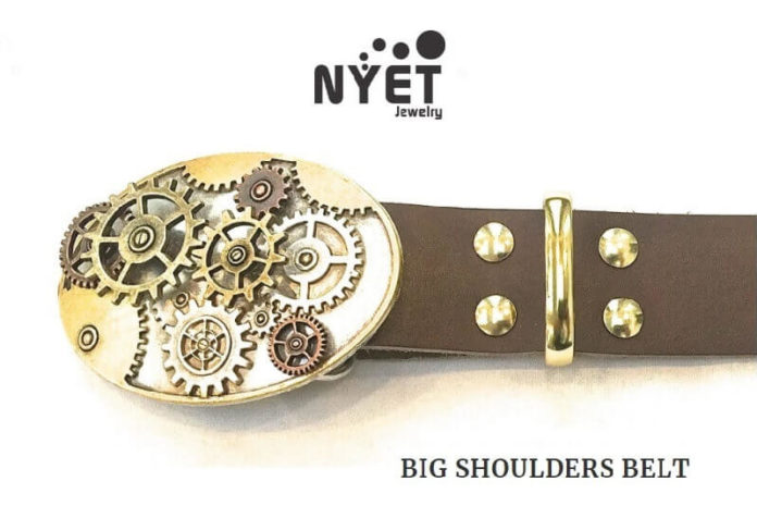 NYET Jewelry Big Shoulders Belt with Steampunk Buckle