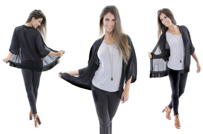 Kali Clothing - Chicago - Black Silk Fringe Kimono Jacket