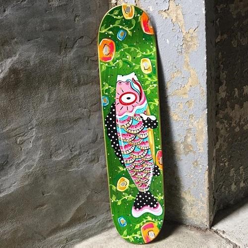 Hello Amanda Shell skateboard fish art