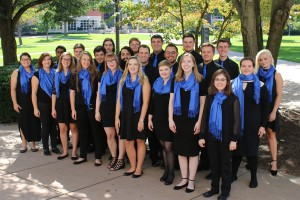 LVC Chamber Choir poses for picture in the Academic Quad