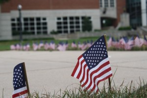 Flags were displayed along the pathways on the academic quad for the anniversary of 9/11