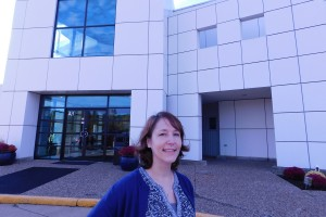 Bethany Hopman poses outside of Paisley Park where she works as an archivist